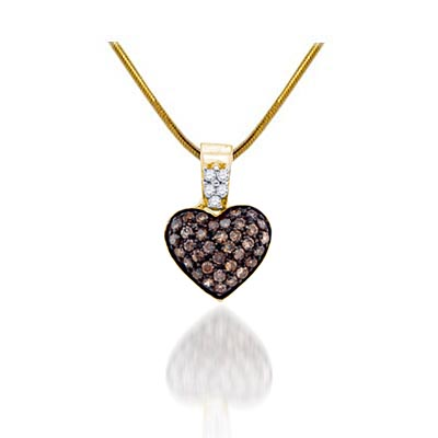 Diamond Heart Champagne Pendant 3/8 Carat Total Weight 3/8 Carat Total Weight