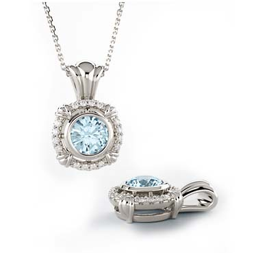Diamond Aquamarine Pendant 0.55 Carat Total Weight