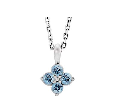 Aquamarine Flower Pendant .15 Carat Total Weight