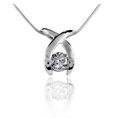 Crossing Arch Diamond Slide Pendant 1/2 Carat Total Weight