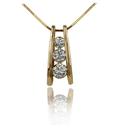 A Frame 3 Stone Diamond Slide Pendant 1.0 Carat Total Weight