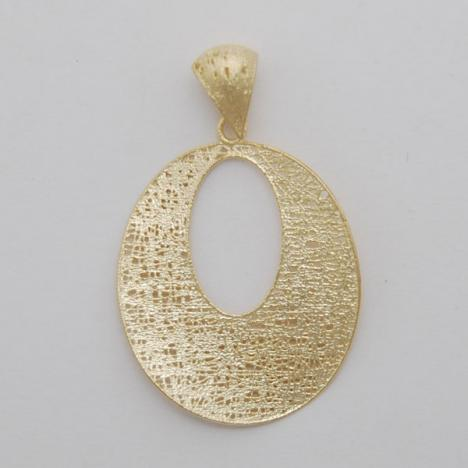 14K Yellow Gold Open Oval Potato Chip Pendant