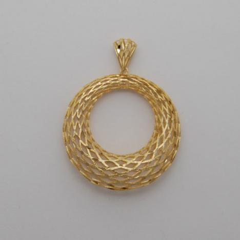 14K Yellow Gold Medium Graduated Weave Pendant