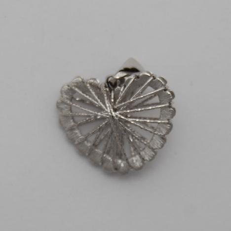14K White Gold Wire Wrapped Heart Pendant