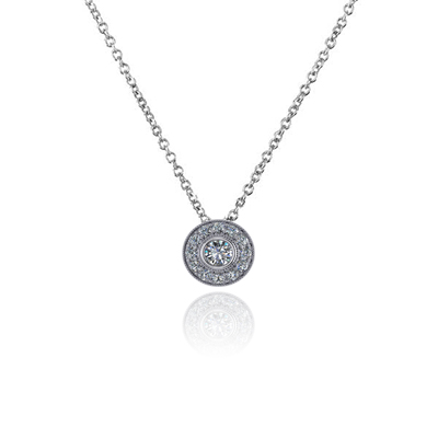Round Halo Bezel Set Diamond Button Pendant 0.86 Carat Total Weight