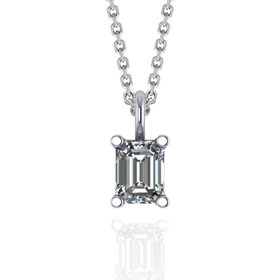 Solitaire Emerald Cut Diamond Pendant 1/3 Carat Total Weight