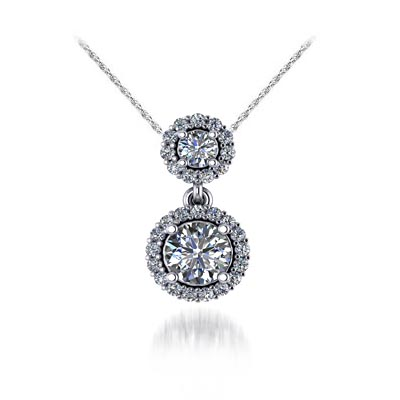 Two Stone Halo Diamond Pendant 0.54 Carat Total Weight