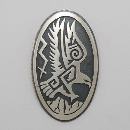 33mm x 53mm Sterling Silver Oval Eagle Pendant - Nathan Fred (artist)