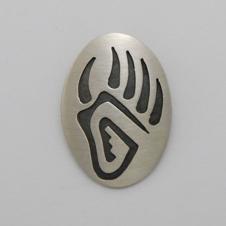 20mm x 30mm Sterling Silver Oval Bear Paw Pendant - Nathan Fred