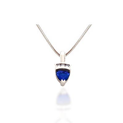 Trillean Tanzanite and Diamond Pendant 0.55 Carat Total Weight