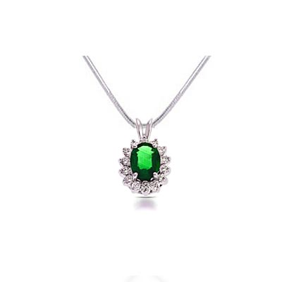 Emerald & Diamond Pendant 1.64 Carat Total Weight