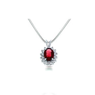 Red Ruby & Diamond Pendant 2.0 Carat Total Weight