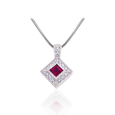 Princess cut ruby diamond signature pendant p2838r usa jewels princess cut ruby diamond signature pendant 065 carat total weight aloadofball Gallery
