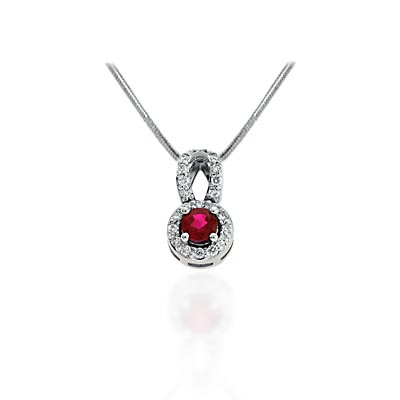 Ruby and Diamond Pave Pendant 1.0 Carat Total Weight
