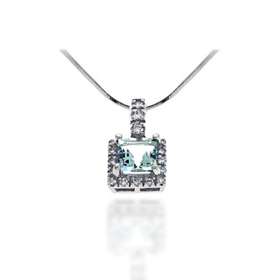 Cussion Cut Aquamarine & Diamond Pendant 1.4 Carat Total Weight