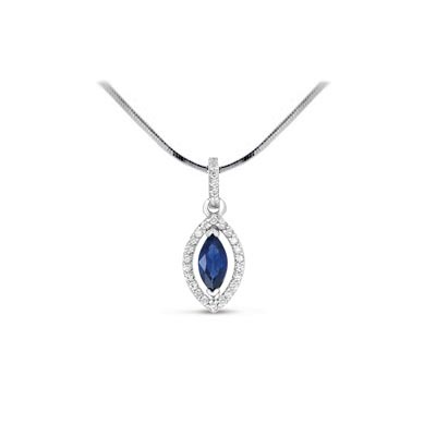 Marquise Shape Sapphire & Diamond Pendant .90 Carat Total Weight