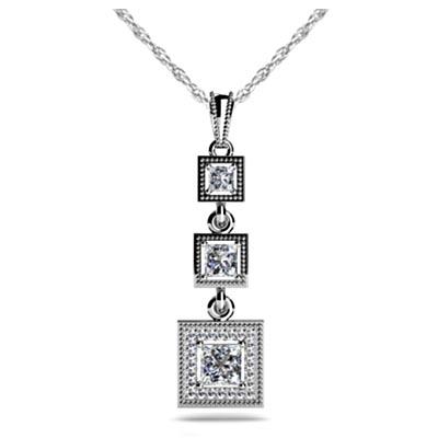 Three stone halo diamond pendant sp18 usa jewels sculptural three stone halo diamond pendant 142 carat total weight aloadofball Choice Image