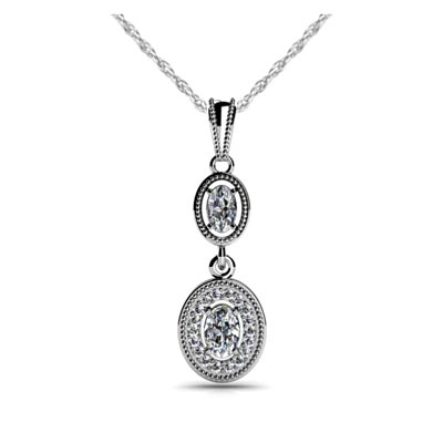 Sculptural Double Link Halo Diamond Pendant .90 Carat Total Weight