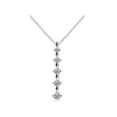 5 Stone Journey Diamond Pendant 1/5 Carat Total Weight