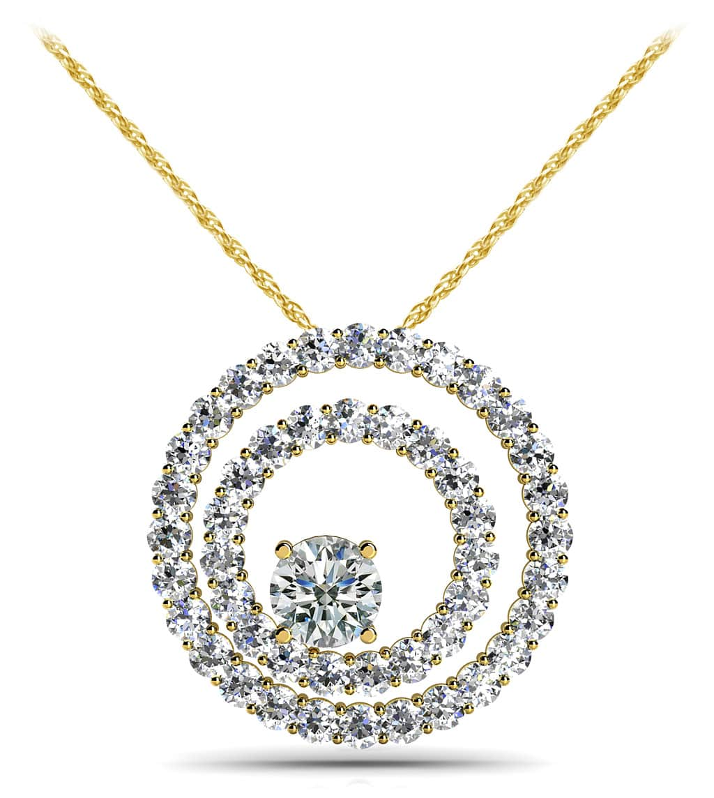 Off Center Diamond Circle Pendant 1/2 Carat Total Weight