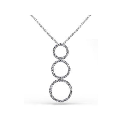 Triple Circles Diamond Pendant 1.0 Carat Total Weight