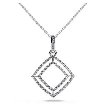 Double Row Square Diamond Pendant 3/8 Carat Total Weight