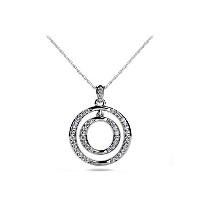 Dual Circle Diamond Accented Diamond Pendant 3/8 Carat Total Weight