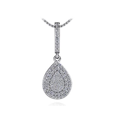 Pave Pear Diamond Pendant 1/2 Carat Total Weight