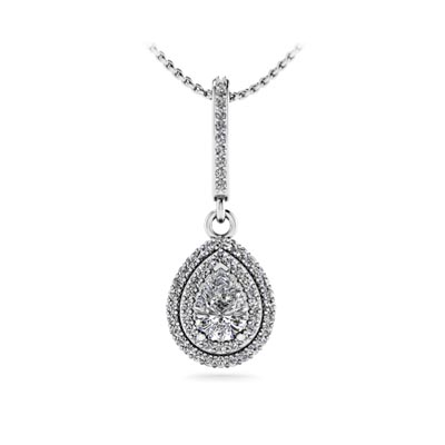 Halo pear solitaire diamond pendant sp83 usa jewels double halo pear solitaire diamond pendant 079 carat total weight aloadofball Images