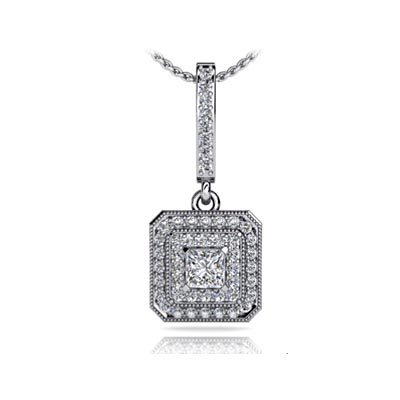 Sculptural Graduated Double Halo Diamond Pendant 3/8 Carat Total Weight