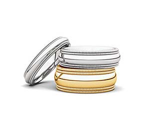 Double Milgrain Comfort Fit Wedding Bands