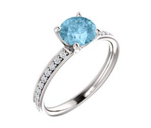 Aquamarine Diamond Accented Engagement Ring