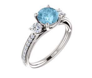 Accented Aquamarine Three Stone Ring