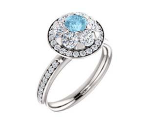 Halo-Style Aquamarine Diamond Ring