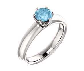 Aquamarine Solitaire Engagment Ring