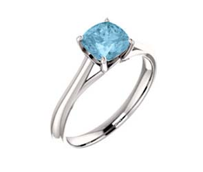 Cushion Cut Aquamarine Engagement Ring