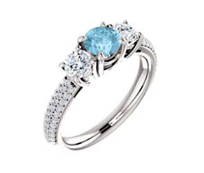 Three Stone Aquamarine Engagment Ring