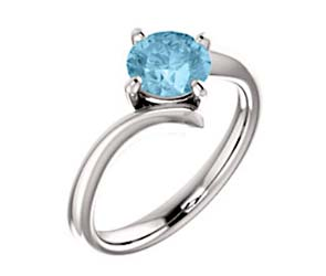 Aquamarine Soliraire Engagement Ring