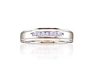 Mens 7 Stone Diamond Fashion Band<br> .08 Carat Total Weight