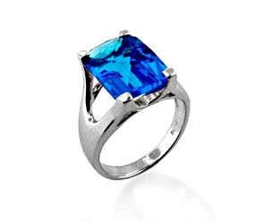 Blue Topaz Ring<br> 6.1 Carat Total Weight
