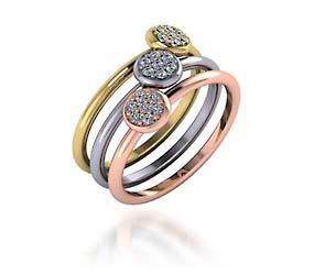 Ladies Stackable Tri Color Diamond Ring