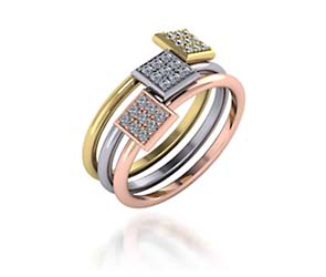 Tri Color Stackable Square Faced Diamond Ring