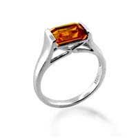 Sterling Silver Citrine Ring 1.3 Carat Total Weight