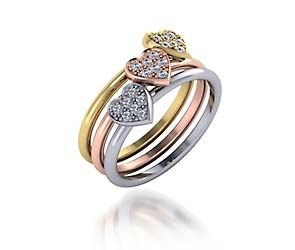 Stackable Tri Color Heart Diamond Ring