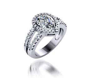 Pear Shaped Split Shank Halo Diamond Ring