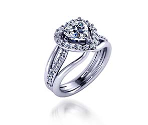 Diamond Halo Style Heart Shape Diamond Ring