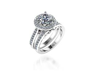 Halo Style Engagement Set Ring