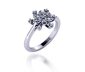 Diamond Snowflake Style Fashion Ring