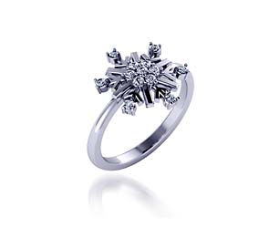 Snowflake Style Diamond Ring