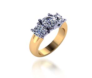Two Tone 3 Stone Diamond Ring